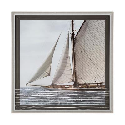Sailing South of Boat on Embellished Glass Framed Travel Art Print 31 in. H x 32 in. W