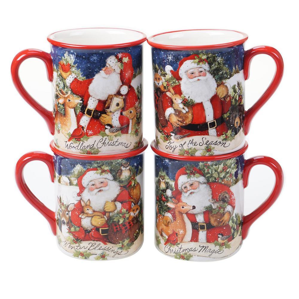 16 oz. Magic of Christmas Santa Multicolored Earthenware Mugs (Set of 4)