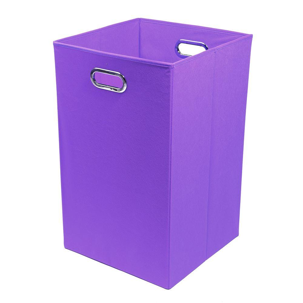 Modern littles color pop solid purple folding laundry for Purple bathroom bin