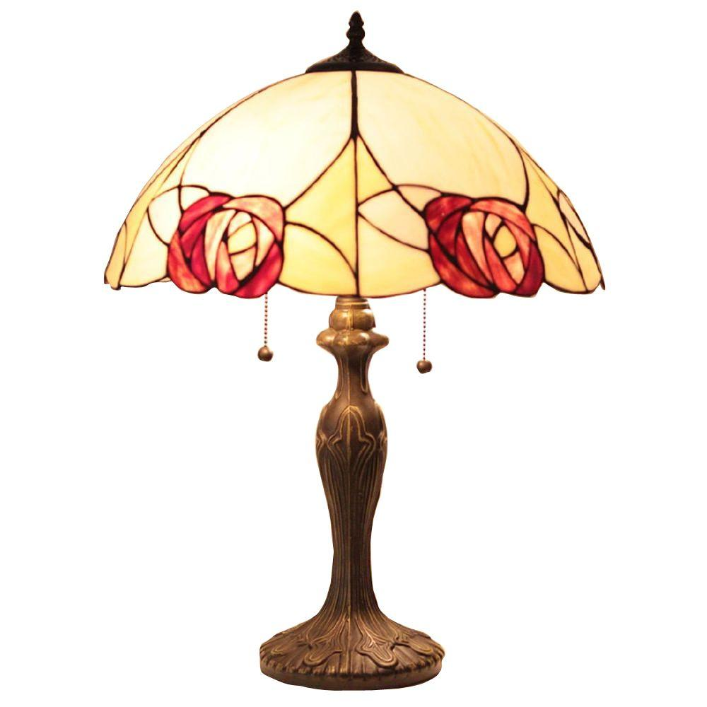 Nice Tiffany Style Scalloped Rose 23 In. Bronze Table Lamp
