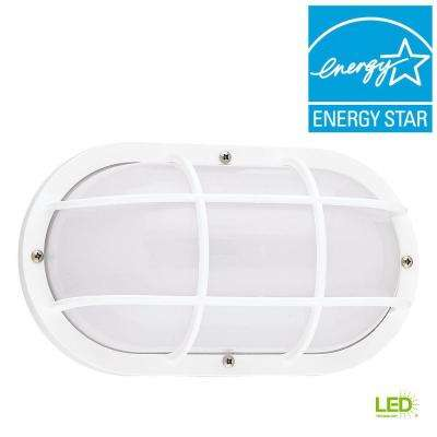 Bayside White 1-Light Outdoor Bulkhead with LED Bulb