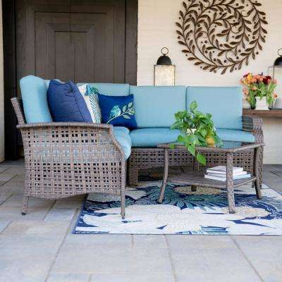Concord 4-Piece Wicker Outdoor Sectional Set with Spa Blue Cushions