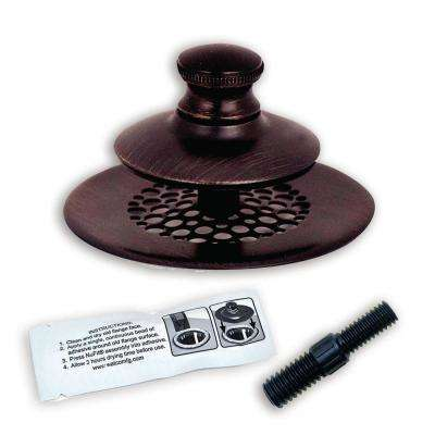 2.875 in. SimpliQuick Push Pull Bathtub Stopper, Grid Strainer Silicone and Composite Pin - Bronze