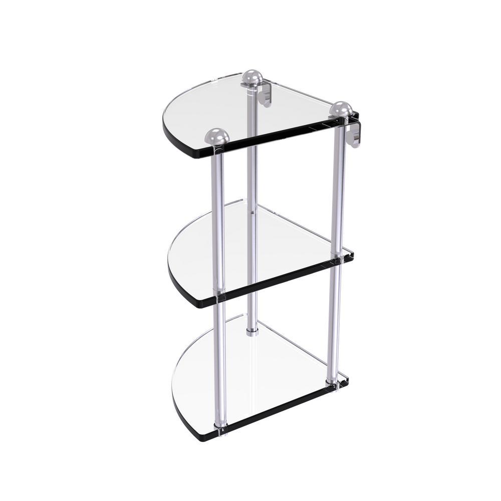 8 in. Three Tier Corner Glass Shelf in Satin Chrome