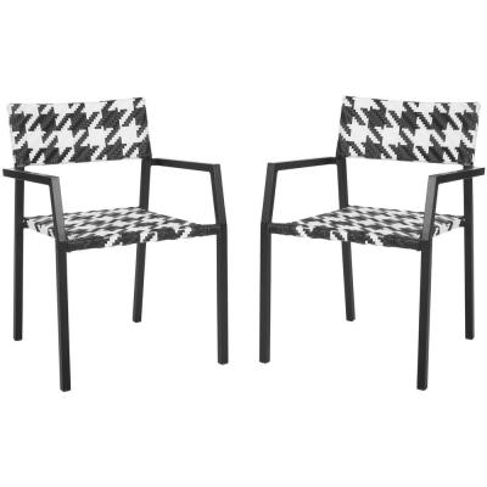 Halden White/Black Aluminum/Wicker Outdoor Dining Chair (2-Pack)