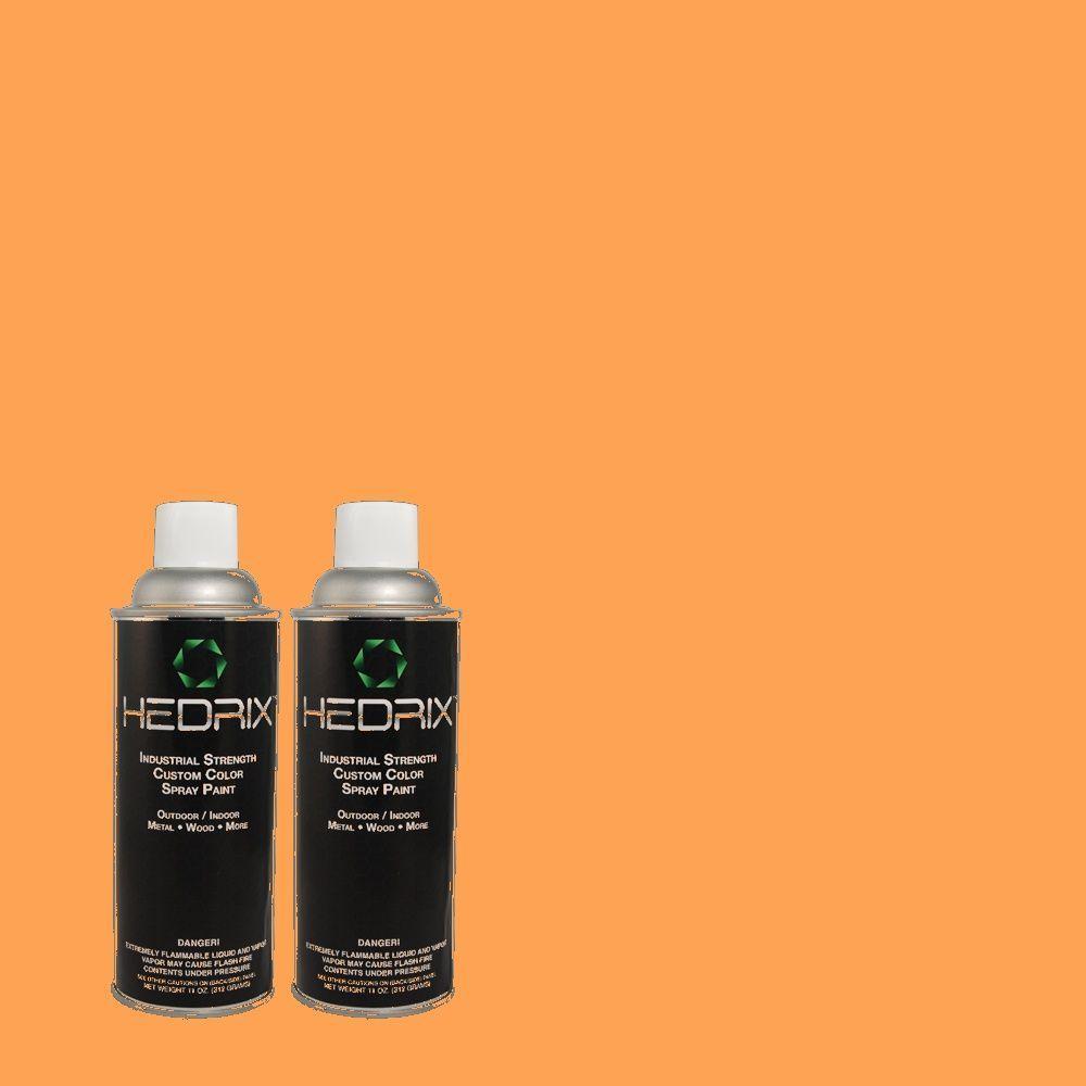 Hedrix 11 oz. Match of 250B-5 Orange Spice Semi-Gloss Custom Spray Paint (2-Pack)