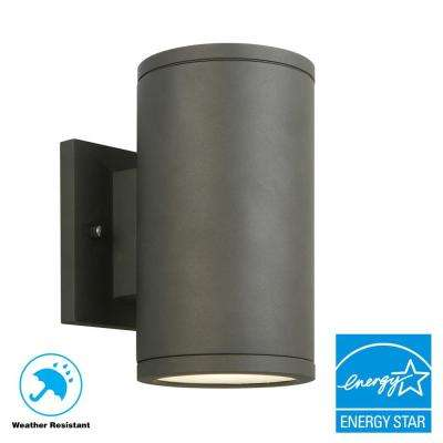 Black LED Outdoor Wall Lantern with Frosted Glass