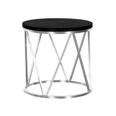 Armen Living Black Ash Wood Top Contemporary Round End Table in Brushed Stainless Steel