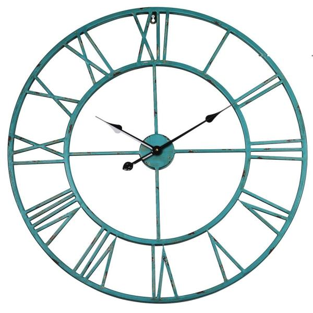 Oversized Roman Round Wall Clock, Distressed Sea Green, 30''