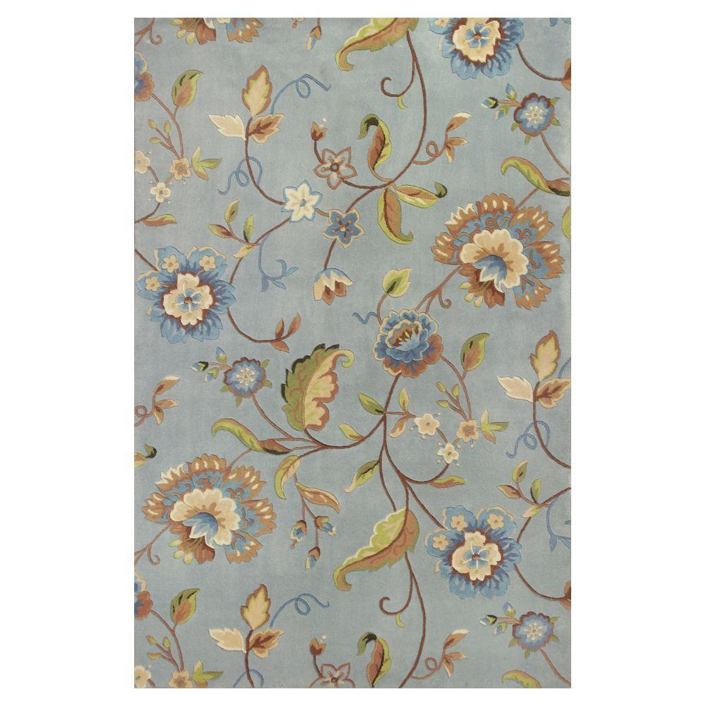 Kas Rugs Simply Floral Blue/Cream 9 ft. 3 in. x 13 ft. 3 in. Area Rug
