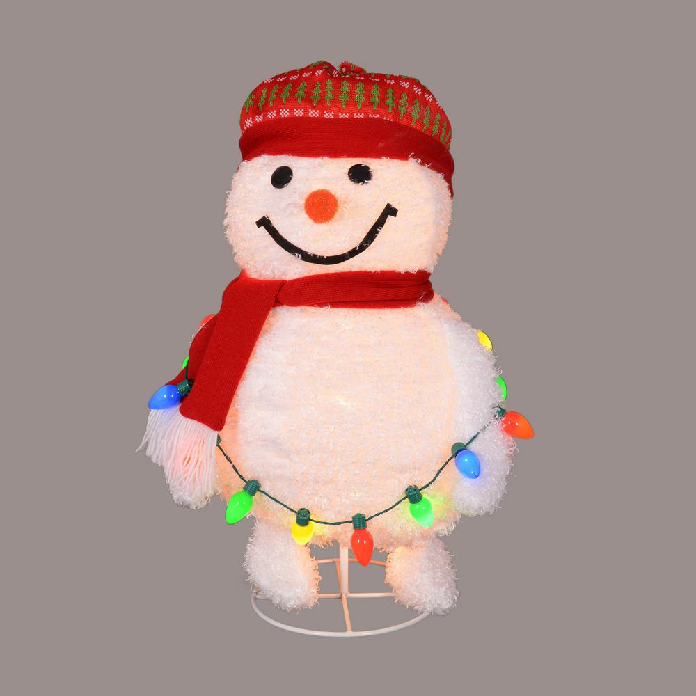 30 in. Red and White Lighted Frosty Pop-Up Snowman Decorative Decor