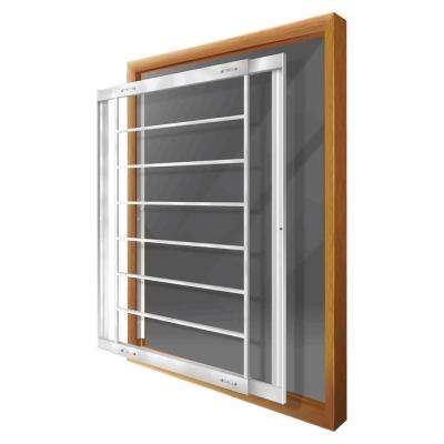 Removable 21 in. to 28 in. Adjustable Width 8-Bar Window Guard, White
