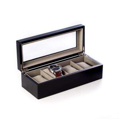 11.25 in. D x 3.25 in. H x 4.5 in. W Wood Watch Case in Black