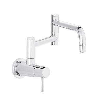 Modern Single-Handle Wall-Mount Pot Filler Faucet in Chrome