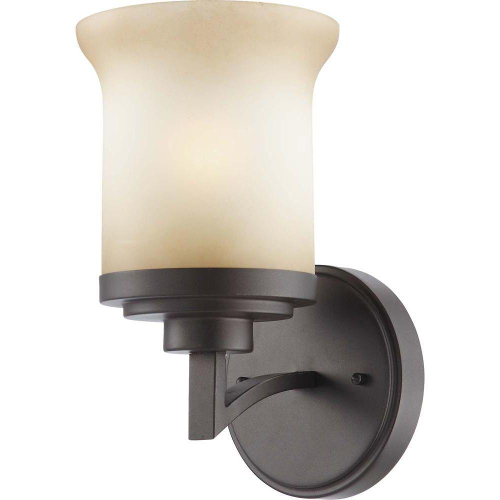 Glomar 1-Light Dark Chocolate Bronze Vanity Fixture with Saffron Glass
