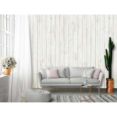 White Wooden Wall Mural