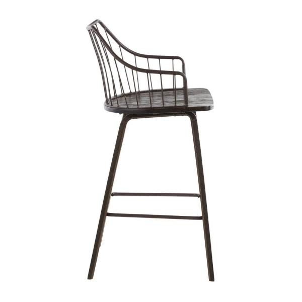 Lumisource Winston 37 In Counter Stool In Dark Walnut Wood And Brown Metal B26 Winstn Wlbn The Home Depot