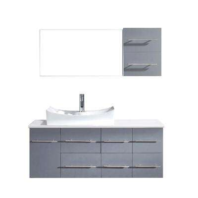 Ceanna 54 in. W Bath Vanity in Gray with Stone Vanity Top in White with Square Basin and Mirror and Faucet