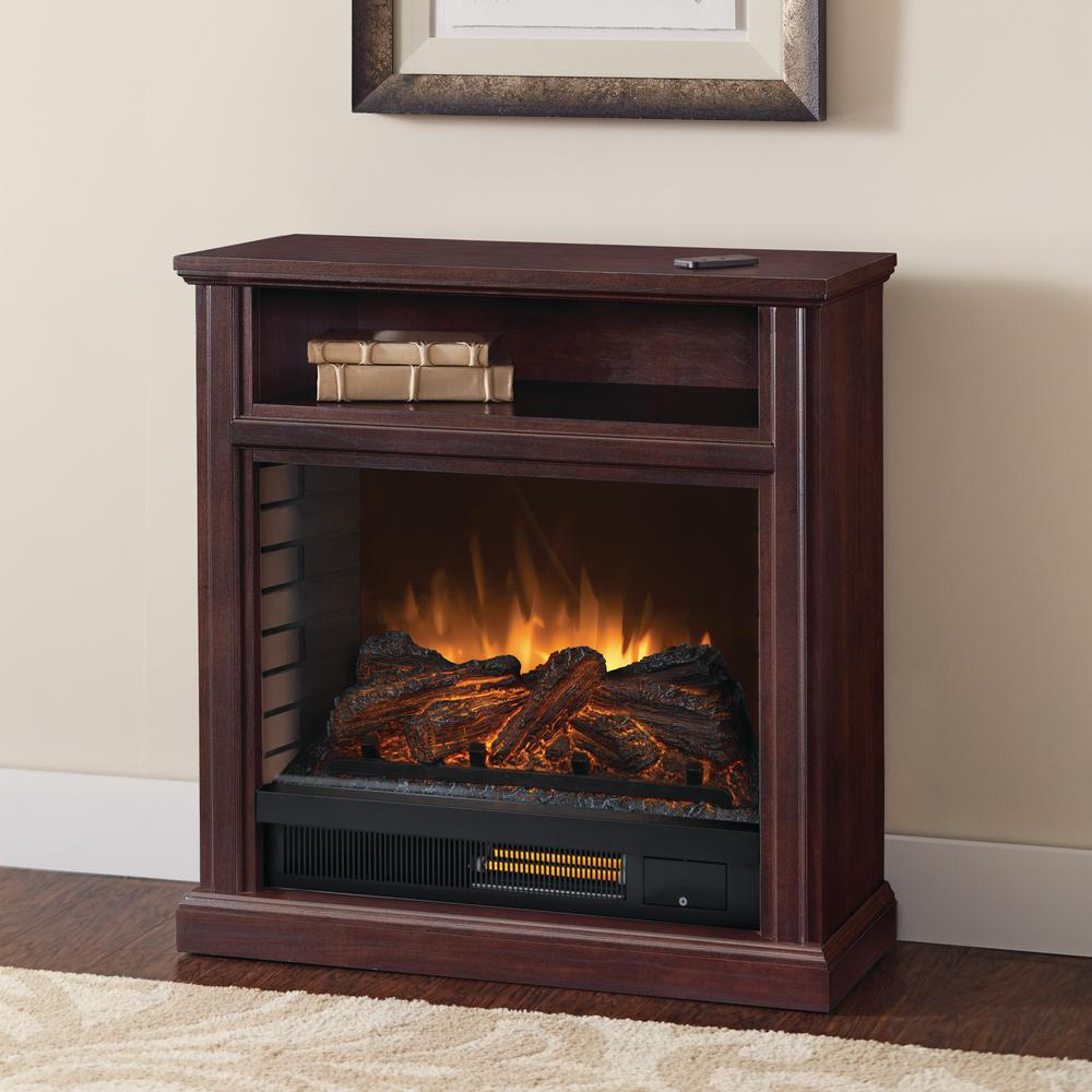 Pleasant Hearth Parkdale 30 in. Freestanding Mobile Infrared Electric Fireplace in Cherry