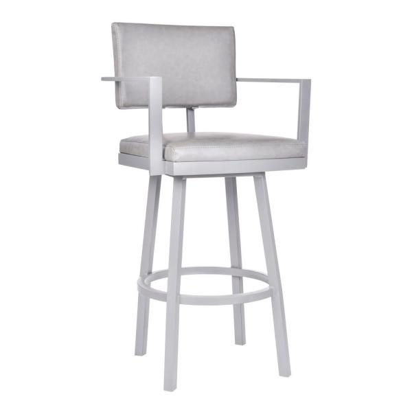 Armen Living Balboa 30 in. Gray Swivel Bar Stool LCBBARBAGRVG30