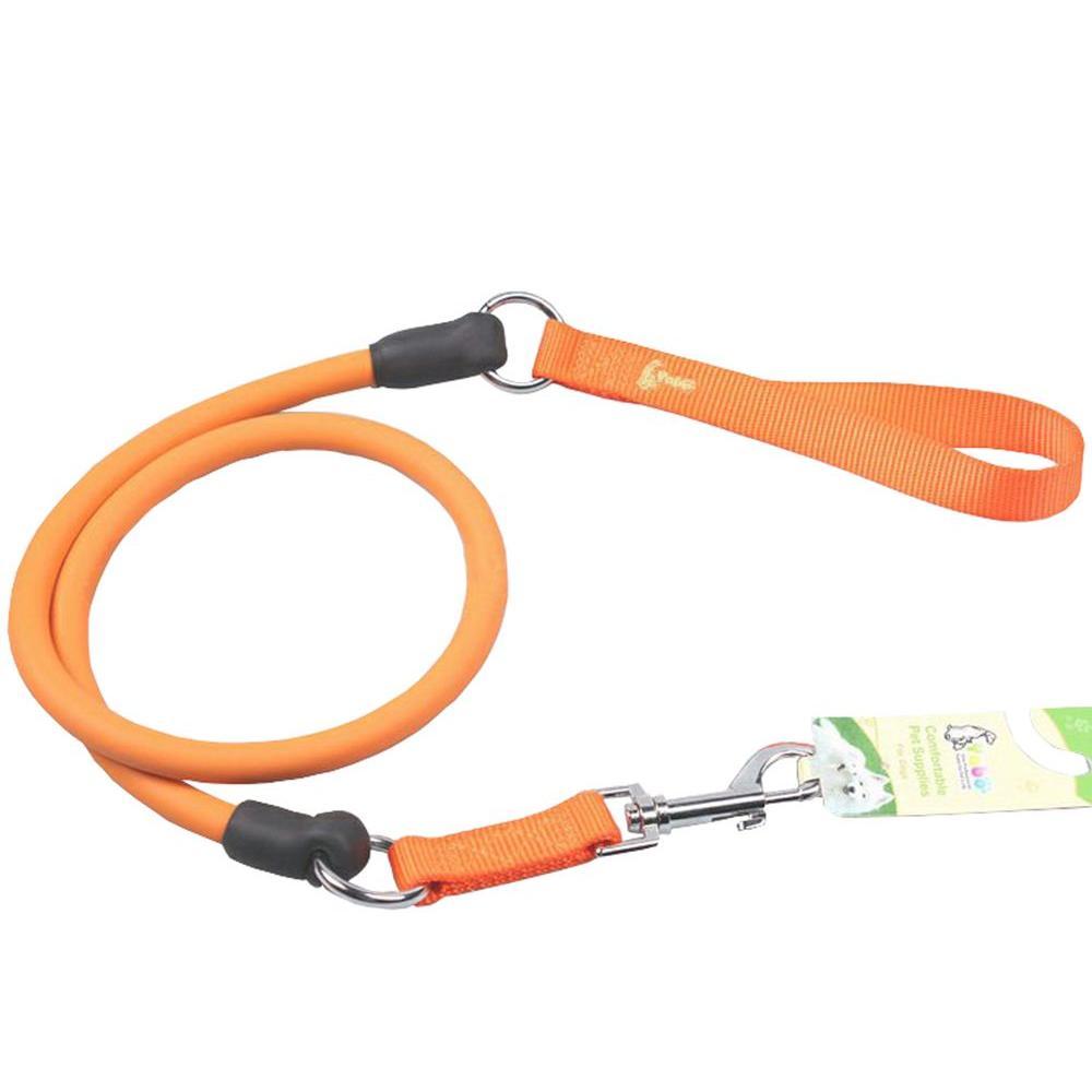 Orange Sporty-Dash Extreme-Stretch Performance Rubberized Dog Leash
