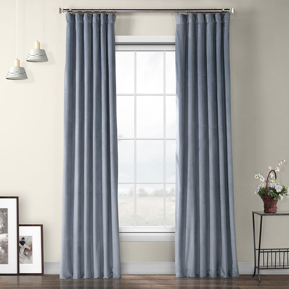 Denmark Blue Heritage Plush Velvet Curtain - 50 in. W x 96 in. L
