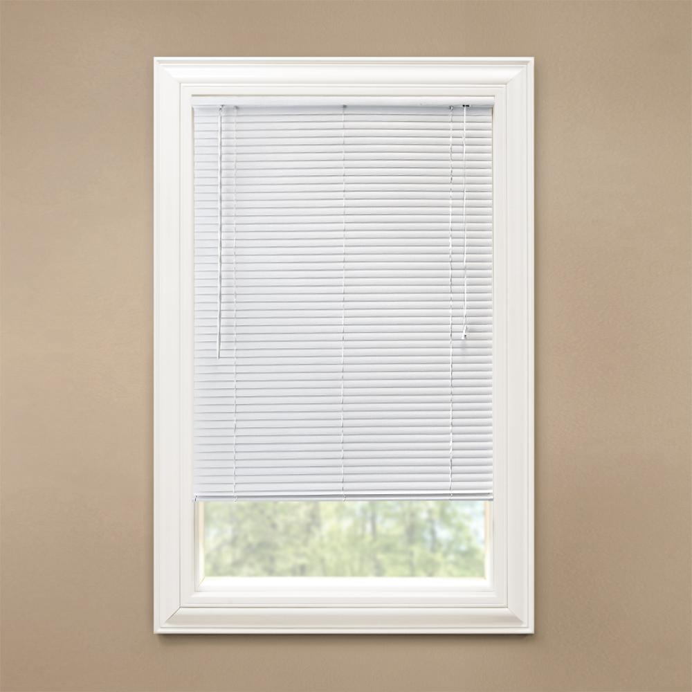 Hampton Bay White 1 in. Room Darkening Vinyl Blind - 36.5 in. W x 72 in. L (Actual Size 36 in. W x 72 in. L)