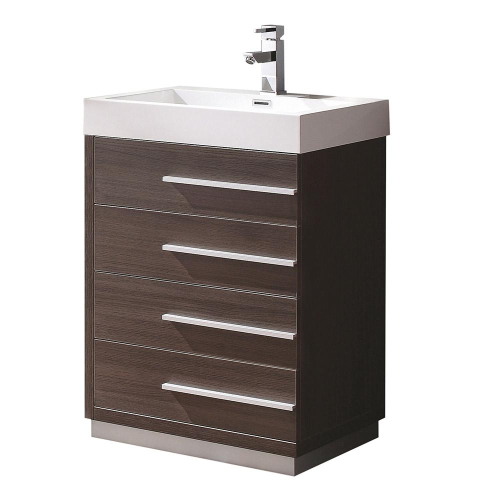 Fresca Livello 24 in. Bath Vanity in Gray Oak with Acrylic Vanity Top in White with White Basin