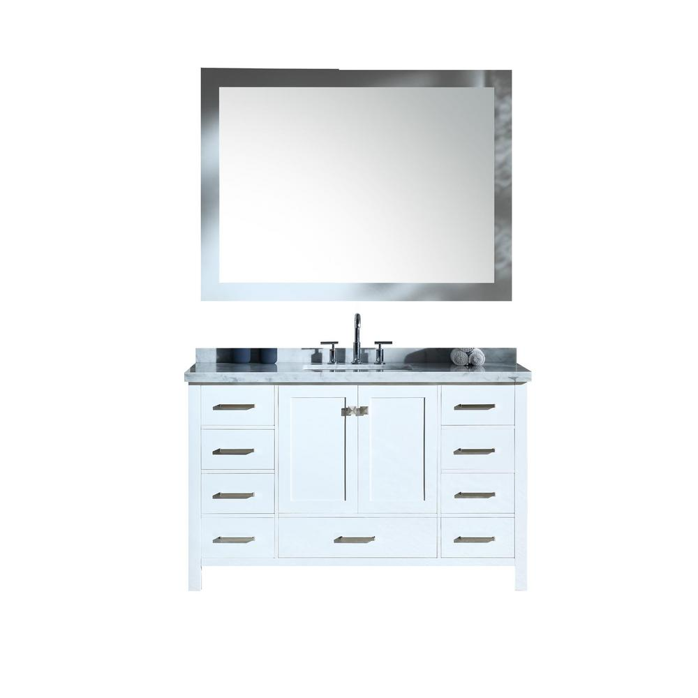 Ariel Cambridge 55 in. Bath Vanity in White with Marble Vanity Top in Carrara White with White Basins and Mirror