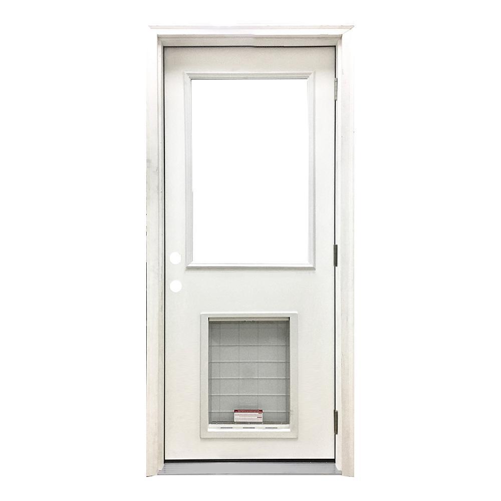 30 in. x 80 in. Classic Half Lite LHOS White Primed Textured Fiberglass Prehung Front Door with SL Pet Door