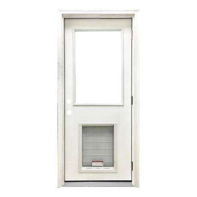 32 in. x 80 in. Classic Half Lite LHOS White Primed Textured Fiberglass Prehung Front Door with SL Pet Door