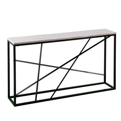 Tesino Matte Black Faux Marble Skinny Console Table