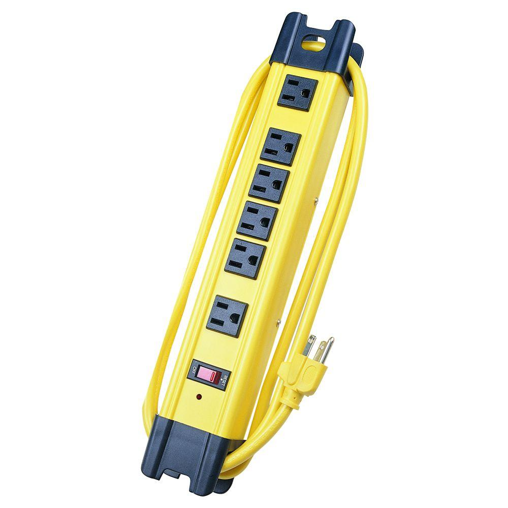 6 ft. 14/3 SJT 1050-Joules 6-Outlet Surge Metal Strip - Yellow