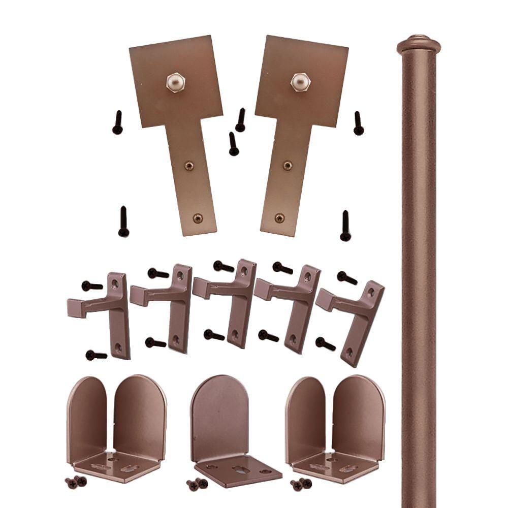 Quiet Glide 3/4 in. - 1-1/2 in. Cube Stick Oil Rubbed Bronze Rolling Door Hardware Kit