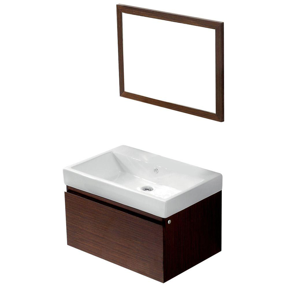 Vigo Agalia 30.5 in. Vanity in Wenge with Porcelain Vanity Top and Mirror in Wenge