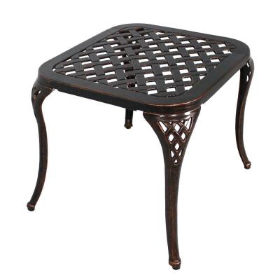 17 in. H Antique Bronze Rectangle Cast Aluminum Outdoor Side Table Patio End Table