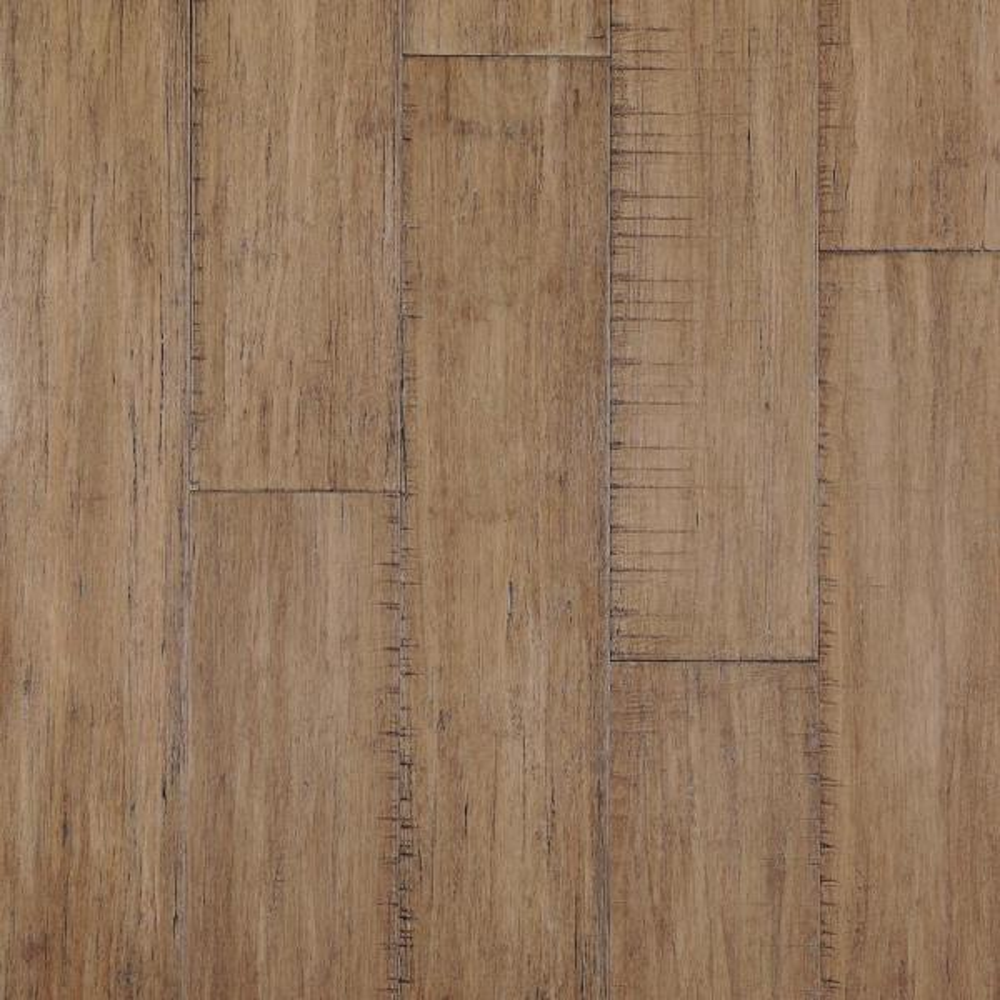 Hand Scraped Strand Woven Hazelnut 3/8 in. T x 5.20 in. W x 36.02 in. L Click Lock Bamboo Flooring (26.00 sq. ft./ case)