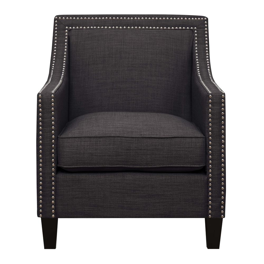 Emery Charcoal Arm Chair and Ottoman