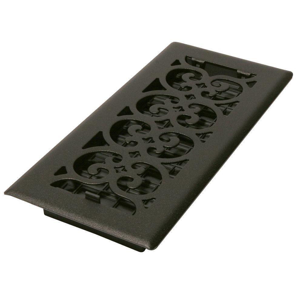 4 in. x 10 in. Black Steel Floor Register with Damper