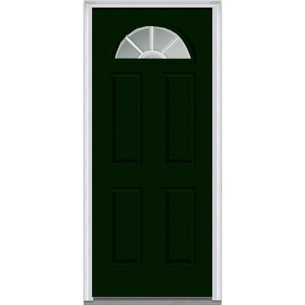 32 in. x 80 in. Grilles Between Glass Right-Hand Fan Lite 4-Panel Classic Painted Steel Prehung Front Door