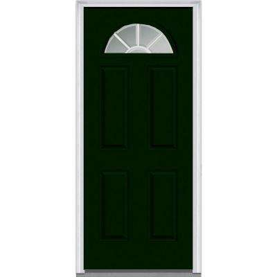 36 in. x 80 in. Grilles Between Glass Right-Hand Fan Lite 4-Panel Classic Painted Steel Prehung Front Door