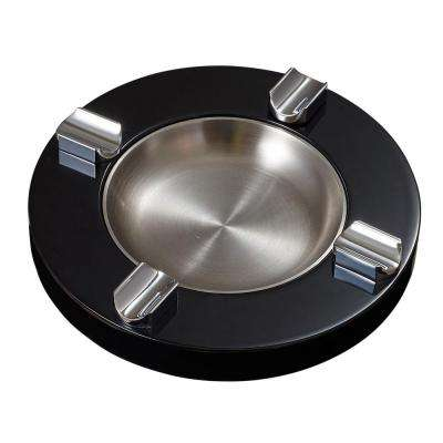 Noche Black Lacquer Wooden Cigar Ashtray with 4 Cigar Rests