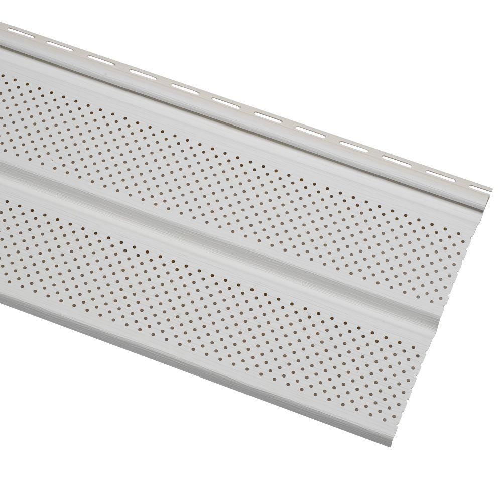 Cellwood Economy Double 5 In White Vented Vinyl Soffit