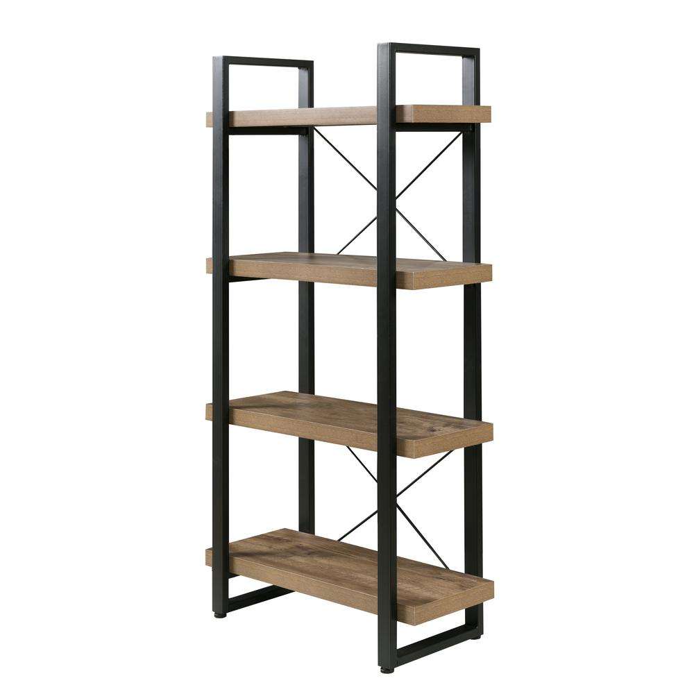 Bourbon Foundry 4-Tier Bookshelf, Wood and Black Steel