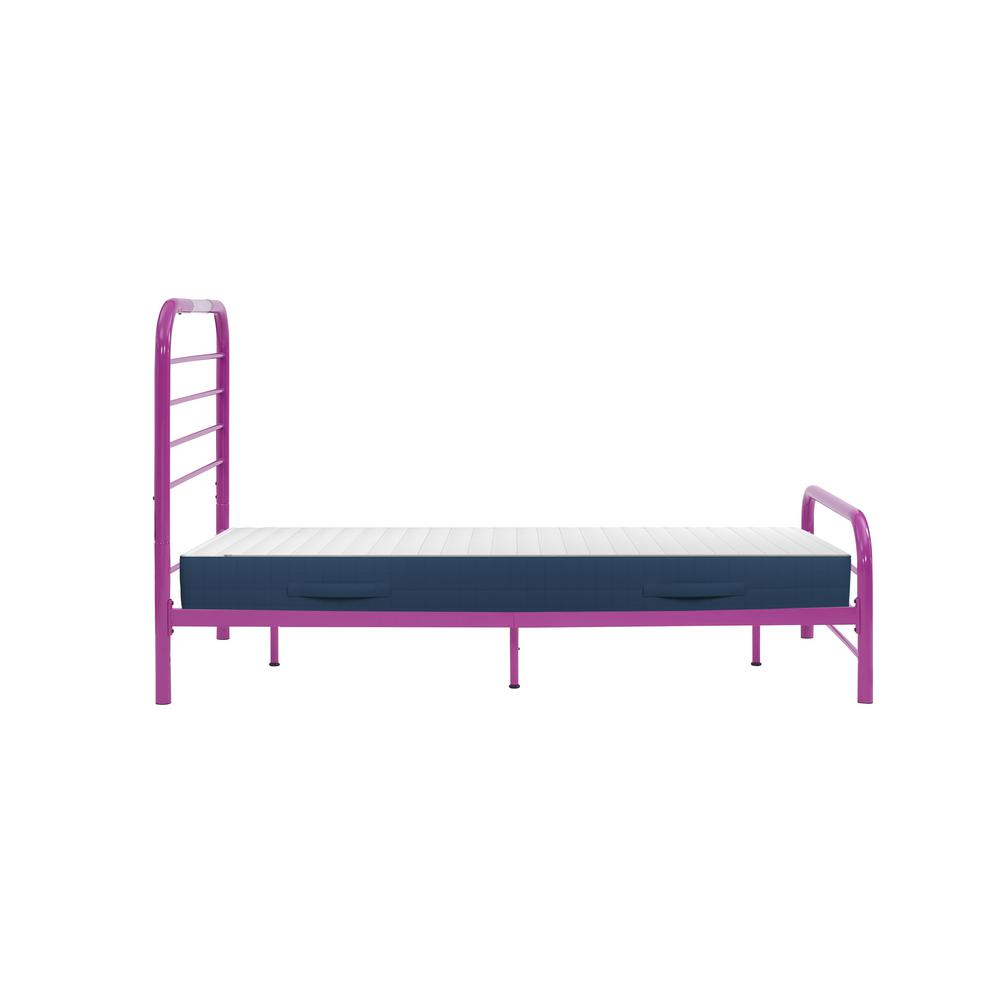 Handy Living Timothy Twin Size Complete Bed With Task Lighting In Magenta Purple Metal