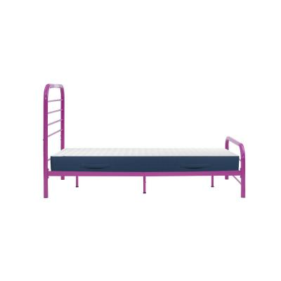 Timothy Twin Size Complete Bed with Task Lighting in Magenta Purple Metal