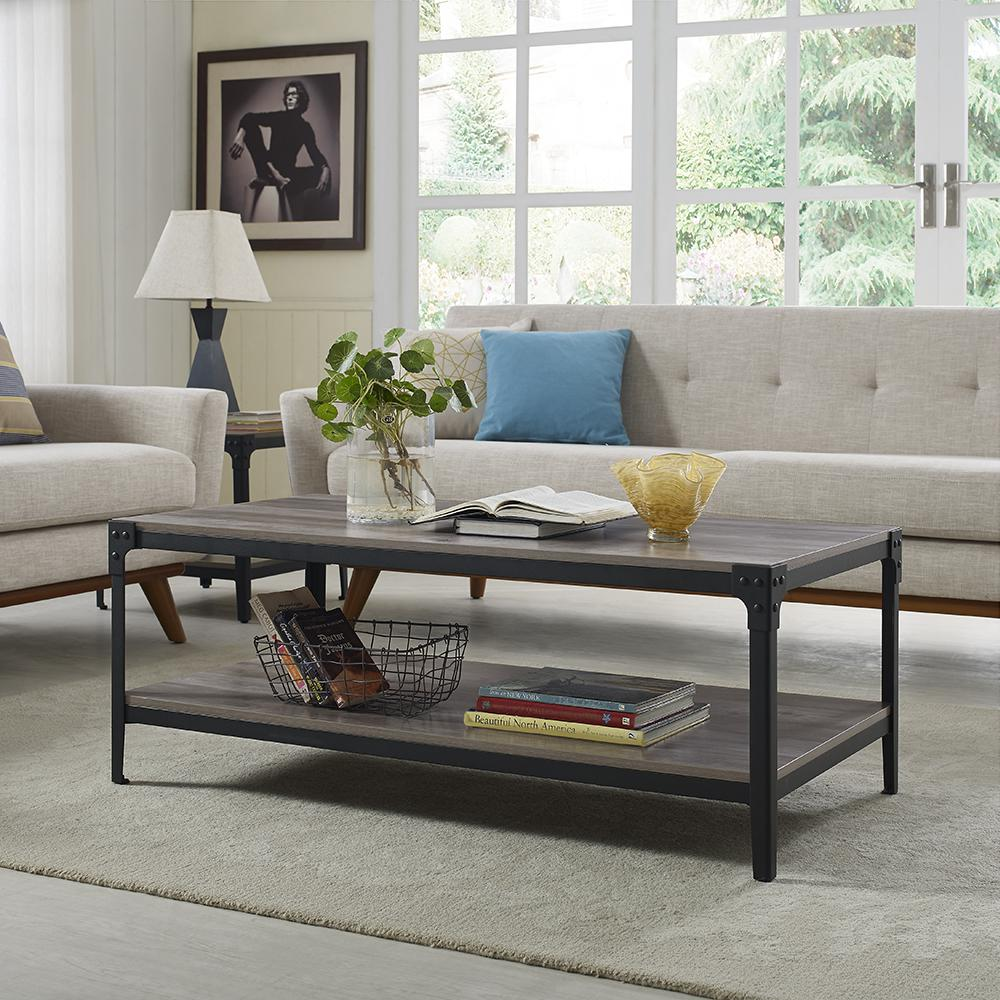 Walker Edison Furniture Company Angle Iron Rustic Wood Coffee Table - Rustic light wood coffee table