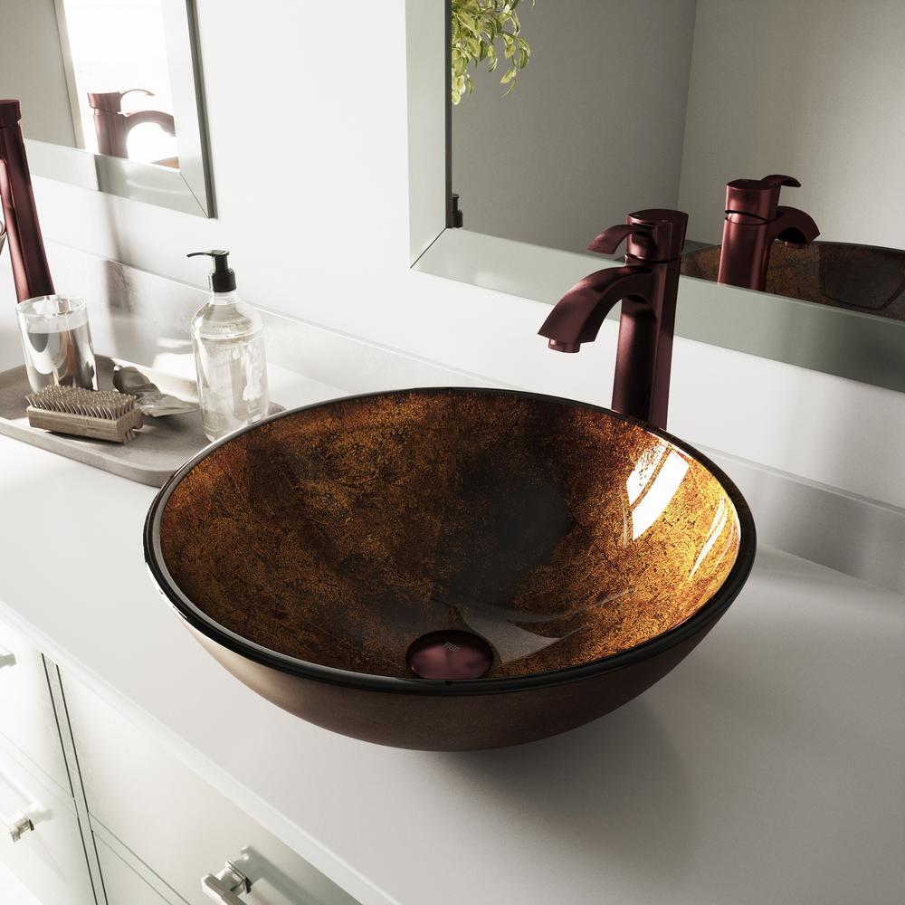 Vigo Russet Glass Vessel Sink Set In Brown With Oil Rubbed Bronze
