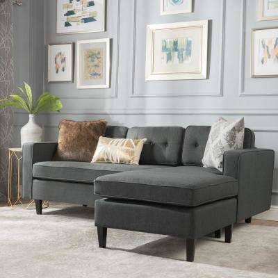 2-Piece Dark Gray Button Back Fabric Sectional
