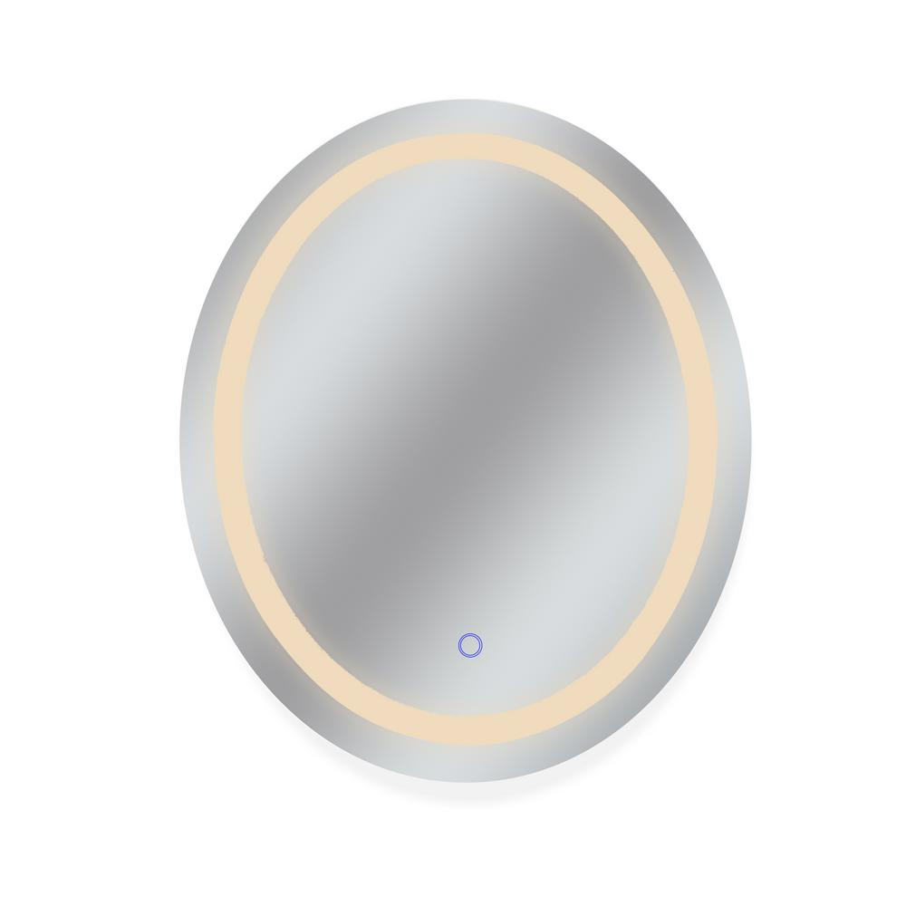 Dyconn 30 in. x 36 in. Tri-Color Oval Wall Backlit Single LED Mirror with Touch On/Off Dimmer and Anti-Fog Function